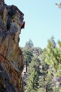 Rock Climbing Photo: Jason high above it all on Out of Sight (5.10b), 8...