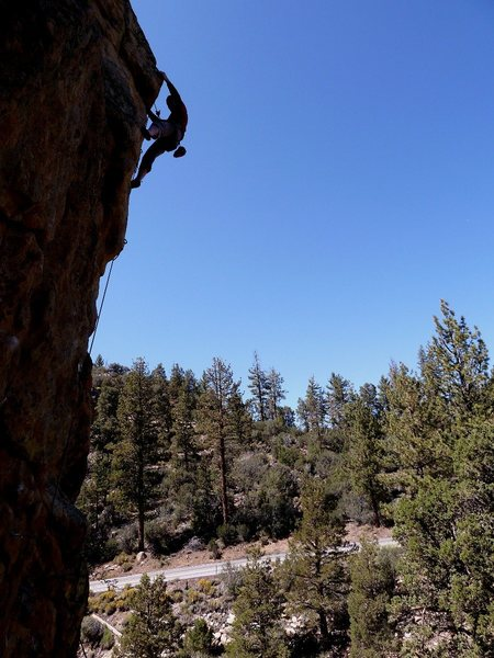 Taylor near the top of Out of Sight (5.10b), 8000 Foot Crag
