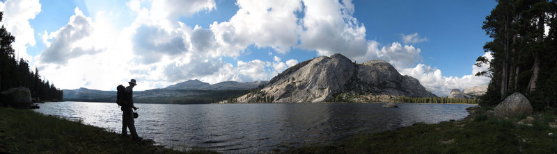 The view of Stately Pleasure Dome across Tenaya Lake as you return to the parking area after the descent.