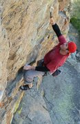 Rock Climbing Photo: Starting up the overhanging arete on Out of Sight ...