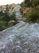 Rock Climbing Photo: Pitch 2 and first few moves of Pitch 3, from the b...