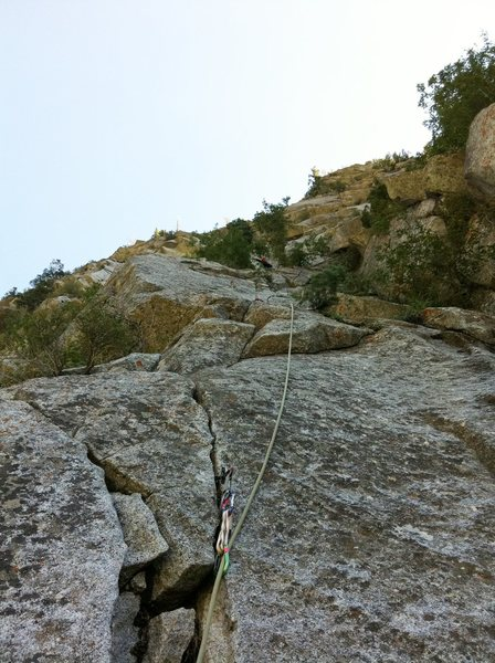 Pitch 4. Fun (dirty) 5.6 cruiser crack all the way to the belay.