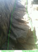 Rock Climbing Photo: Classic Crack 5.7 on the left and Thing In Between...