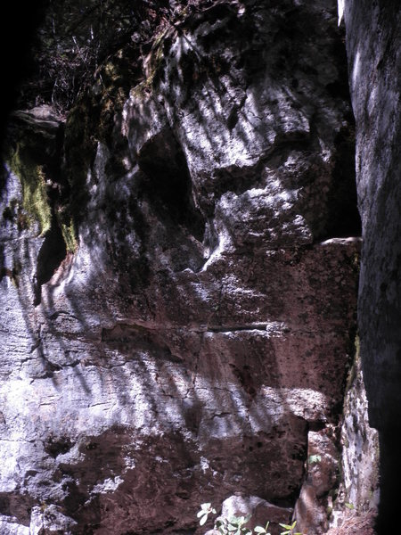 Rock Climbing Photo: The starting crimp rail is the highly visible rect...