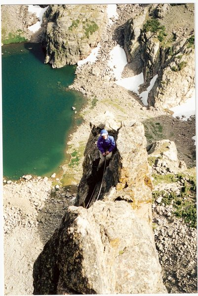 Jean K Mathern 1 pitch from the top of Petit Grepon, 1999.