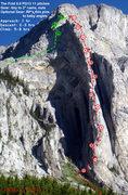 "Rock Climbing Photo: Ramey Topo - 2011_07. ""P"" = piton placem..."