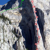 """Ramey Topo - 2011_07. """"P"""" = piton placements are approximate. Route can be rapped with 1 rope. Rap has all new bolts and there is no longer a """"scary downclimb"""" to reach the free hanging rap."""