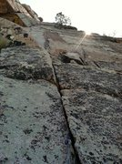Rock Climbing Photo: A shot looking up at the sweet 2nd pitch from wher...