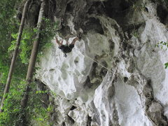 """Rock Climbing Photo: Glen on second ascent of """"The Incredible Roof..."""