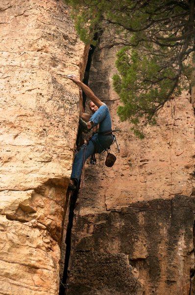 Rock Climbing Photo: Arête climbing technique of high-stepping through...