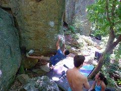 Rock Climbing Photo: Ian on Battle.  Boulder Bash 2011