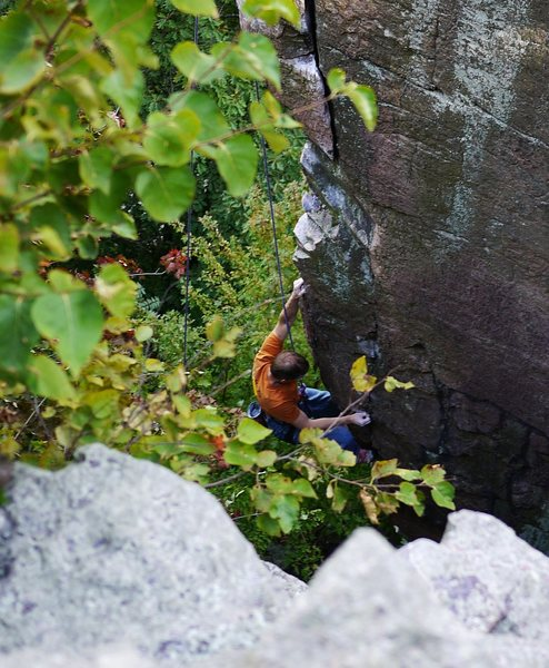 Just about the end of the crux moves, MTS, Sept 2011.  Great route!  Photo Rob de la Riva.
