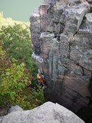 Rock Climbing Photo: Upper arete on MTS.  Photo Rob de la Riva.