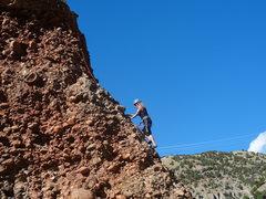 Rock Climbing Photo: Franziska arm wrestles with Gumby's easy mid slab