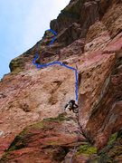 Rock Climbing Photo: Me on 1st pitch with the 2nd and 3rd pitches trave...