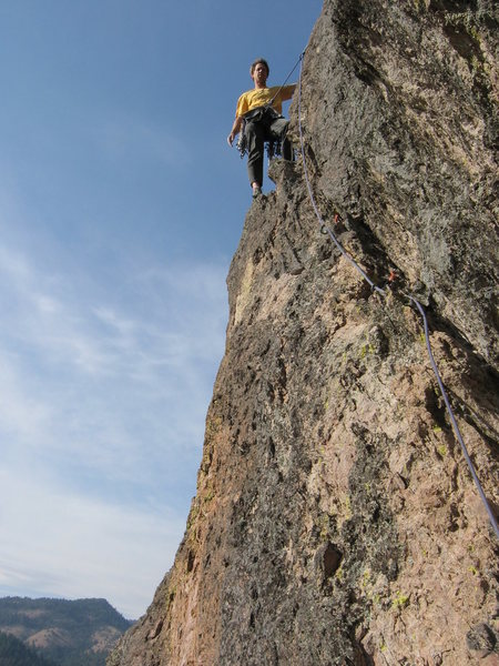 Rock Climbing Photo: Dave McRae on the 5.8 angling crack of pitch 4.