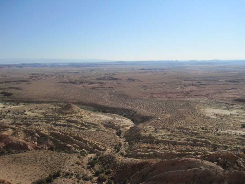 Rock Climbing Photo: View from top of P2. Note truck and road.