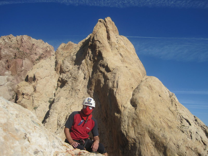 "What a day !..The summit. looking .towards the end buttress of the ""Mile and a Bit Girdle Traverse""."