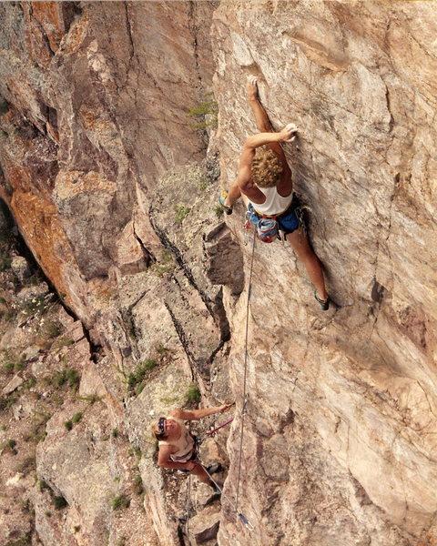 Rock Climbing Photo: FA Swizzlestick Legs 5.11c Climber: Peter L Scott ...