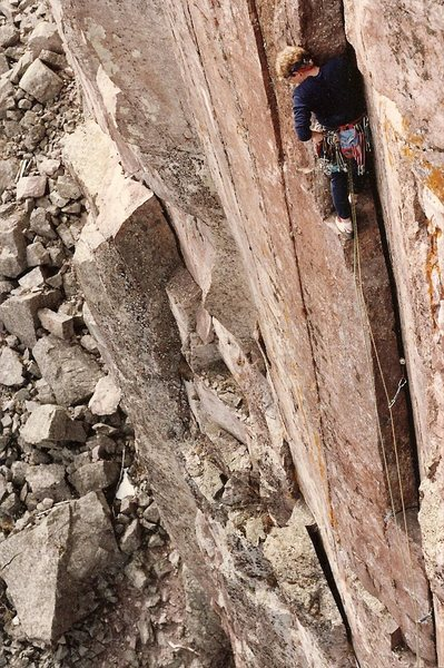 FA photo showing block at beginning of crack.<br> <br> Climber: Peter L Scott