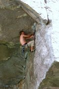Rock Climbing Photo: Laughlin full into the traverse.