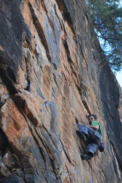 Todd Tumolo just through the crux.