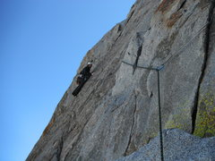 Rock Climbing Photo: Rob Beno leading the 5.9 traverse (P2)