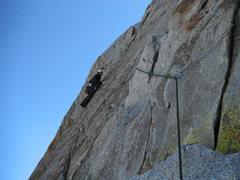 Rock Climbing Photo: Rob Beno leading the 5.9 traverse (P2)