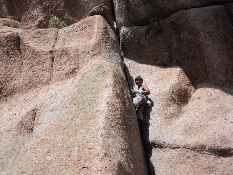 Rock Climbing Photo: Lisa cruxing out on the first pitch of Pooh Corner...