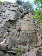 Rock Climbing Photo: Watching Ben rappelling down. The route basically ...