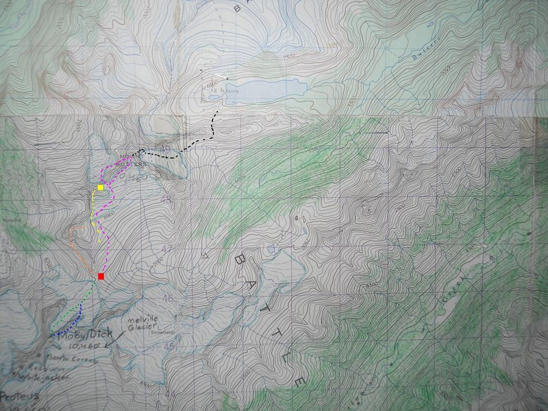 PEQUOD PASS ROUTES<br> <br> contours 100 feet<br> <br> red box - Pequod Pass<br> yellow box - Mt Ahab<br> <br> orange - III, 5.6<br> yellow - II, 5.6<br> green - descent glacier<br> blue - IV, mixed<br> violet - III, 5.9<br> black - 1914 route