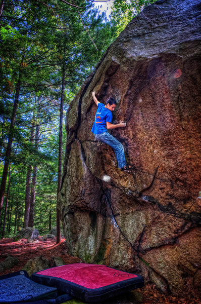 Rock Climbing Photo: Ethan Chase working the line.