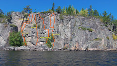 Rock Climbing Photo: A front look at the cliff face with established ro...