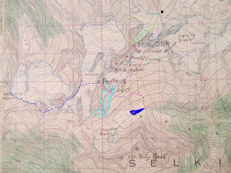 MELVILLE GROUP<br> 1961 Westfall Map<br> contours 100 feet<br> 1 km grid<br> <br> MOBY DICK<br> black box - Pequod Pass<br> red - South Face Rib<br> yellow - Oh no! Wall<br> orange - Boomerang<br> green - North Glacier<br> <br> PEQUOD<br> blue blob - Houston Lake<br> lite blue - crevassed glacier<br> blue - 1947<br> violet - Tempus Fugit