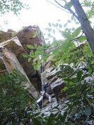 Rock Climbing Photo: Anna chimneys past the first roof on Monkey's Fist...