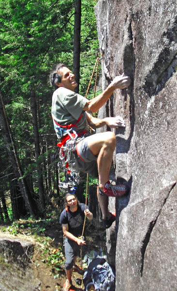 Moving past the bouldery crux at the base.