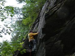 Rock Climbing Photo: about to exit the corner and finish up the face to...