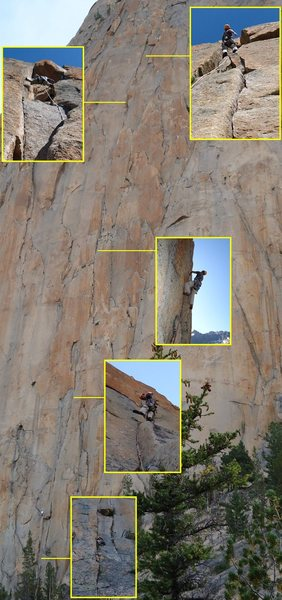 Rock Climbing Photo: Composite photo showing bottom half of the route. ...