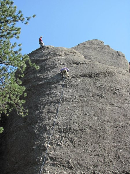 Paul Huebner belaying Anne Meyer up Star Dancer.
