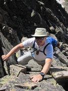Rock Climbing Photo: Rick Witting scrambling up class 4 east ridge of L...