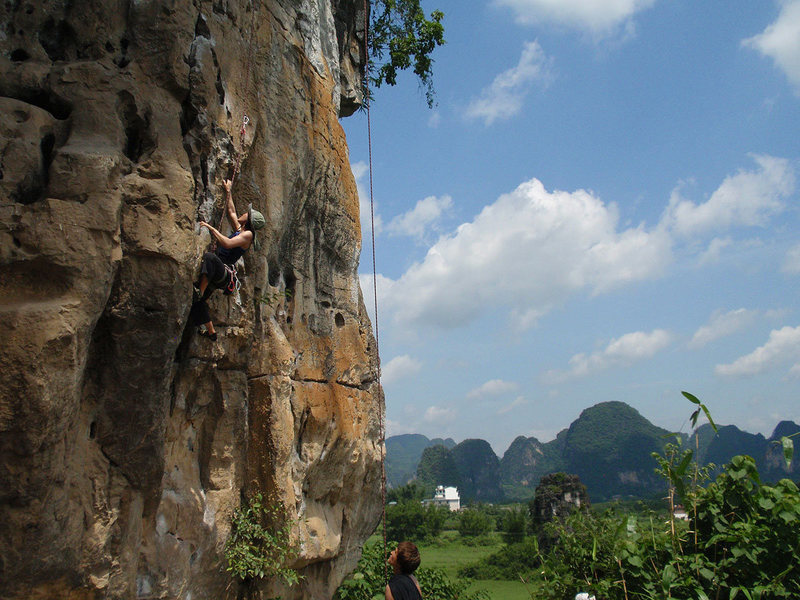Rock Climbing Photo: Linda starting up the route in oppressive conditio...