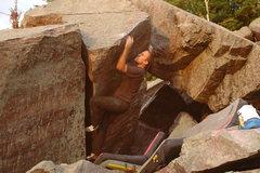 Rock Climbing Photo: Non heel-toe cam beta for the move to the lip.