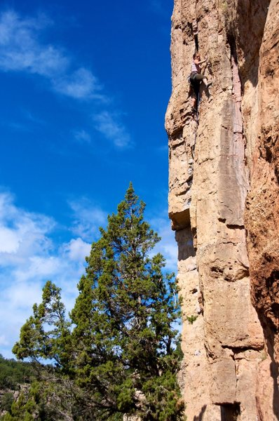 Rock Climbing Photo: In the slightly runout climbing of the upper part ...