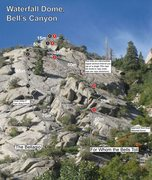 Rock Climbing Photo: Topo of the two routes on this side of Waterfall D...