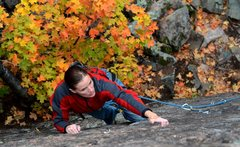 Rock Climbing Photo: Liz Peppin floating the route