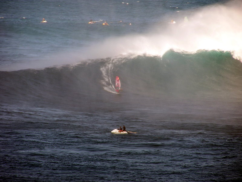 Robbie Naish at Jaws<br> Photo: Olaf Mitchell