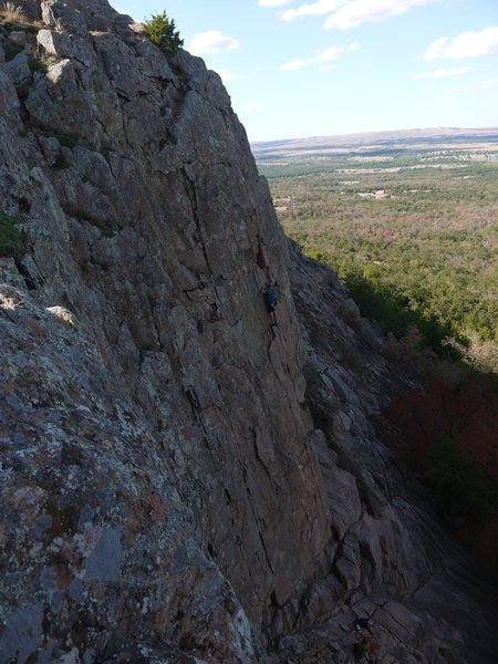 Rock Climbing Photo: An unknown climber on High Anxiety, Mt. Scott, Wic...
