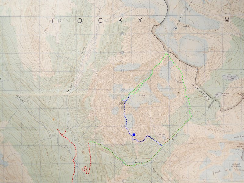 MOUNT BRYCE, SOUTH GLACIER<br> contour interval 100feet<br> blue square - bivy<br> blue - South Glacier<br> green - NE Ridge