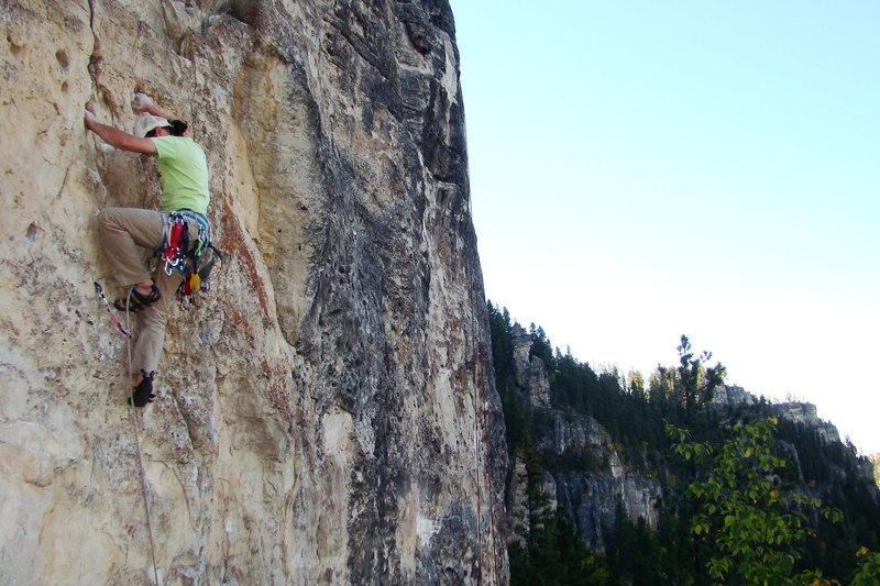 Chris Pelczarski takes down Peace Pipe, 510c. Trail of Tears Wall, Spearfish Canyon.