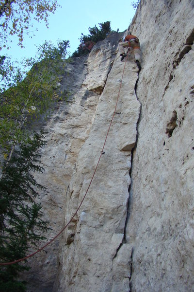 Rock Climbing Photo: The crux is coming up after a brief rest.